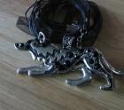 Black stoned Wolf pendant