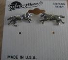 Silver wolf stud earrings