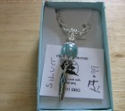 Silver and turquoise feather necklace