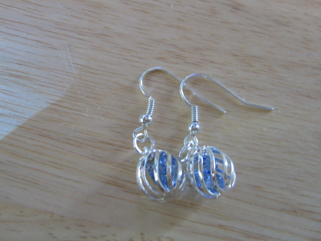 Blue cage earrings