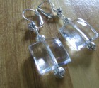 Large clear square type earrings