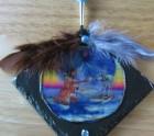 Native north american Indian on slate