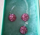 Pink crystal shamballa necklace and earring set