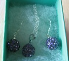 Purple crystal shamballa necklace set