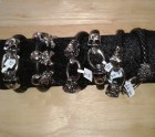 Tiger head metal and leather bracelet