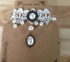 White lace choker pearl
