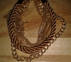 Gold chain and cord Bracelet