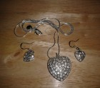 Heart necklace and earring set