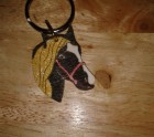Black and gold horse keyring