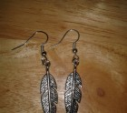 Feather earrings in tibetain silver
