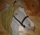 Gold and silver horse head hanger