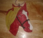 Red and gold horse head hanger