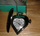 Heart filigree watch necklace