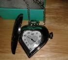 Heart filigree watch necklace