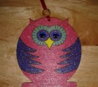 Pink and blue owl hanger